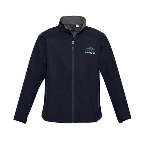 Soft Shell Jacket: Navy Jacket with College Logo