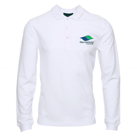 Long Sleeve white polo shirt with College Logo