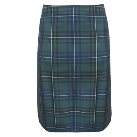 Green, Blue and white check pleated skirt